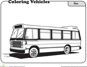 First Grade Coloring Worksheets: Bus Coloring Page
