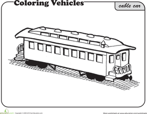 First Grade Coloring Worksheets: Cable Car Coloring Page