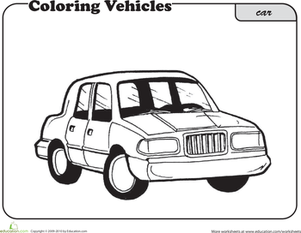 First Grade Coloring Worksheets: Color this Car