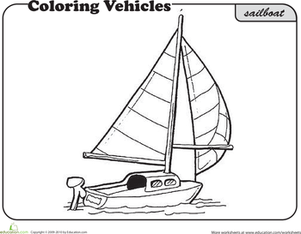 First Grade Coloring Worksheets: Sailboat Coloring Page