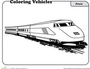 First Grade Coloring Worksheets: Train Coloring Page