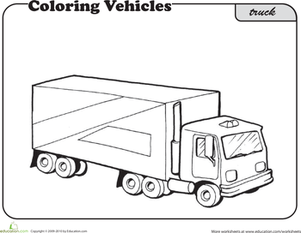 First Grade Coloring Worksheets: Color this Truck