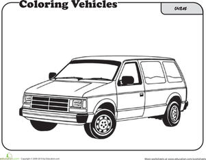 First Grade Coloring Worksheets: Van Coloring Page