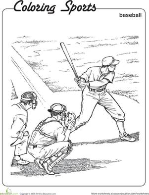 Second Grade Coloring Worksheets: Baseball Coloring Page
