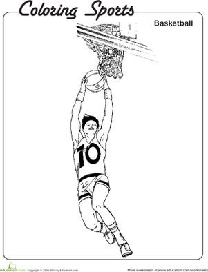 Second Grade Coloring Worksheets: Basketball Coloring Pages for Kids!