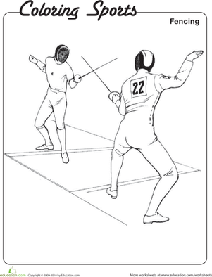 Second Grade Coloring Worksheets: Fencing Coloring Page