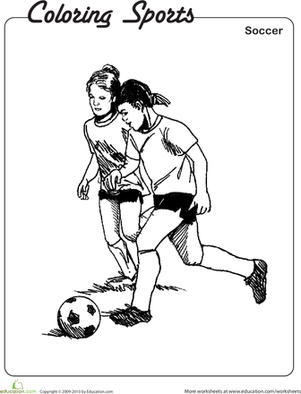 Second Grade Coloring Worksheets: Soccer Coloring Page