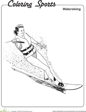Second Grade Coloring Worksheets: Waterskiing Coloring Page