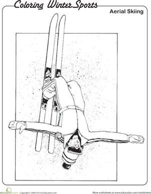 Kindergarten Pop culture and events Worksheets: Aerial Skiing Coloring Page