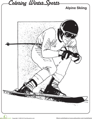 Kindergarten Holidays & Seasons Worksheets: Alpine Skiing Coloring Page