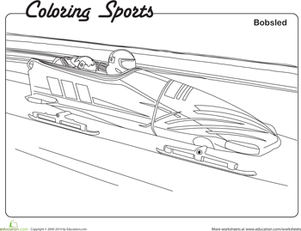 Kindergarten Holidays & Seasons Worksheets: Bobsled Coloring Page