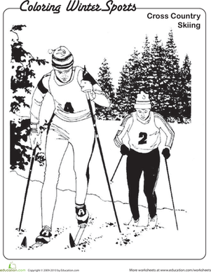 Kindergarten Holidays & Seasons Worksheets: Cross-Country Skiing Coloring Page