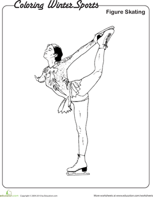 Kindergarten Holidays & Seasons Worksheets: Figure Skating Coloring Page