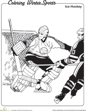 Kindergarten Holidays & Seasons Worksheets: Ice Hockey Coloring Page