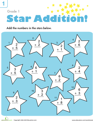 First Grade Math Worksheets: Addition Facts Practice