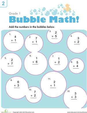 First Grade Math Worksheets: Bubble Math