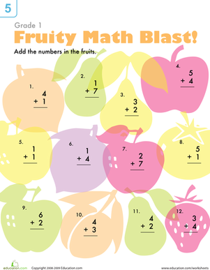 First Grade Math Worksheets: Addition Practice: Fruit Blast