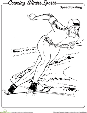 Kindergarten Holidays & Seasons Worksheets: Speed Skating Coloring Page