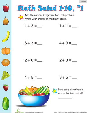 First Grade Math Worksheets: Addition Games: Math Salad 1