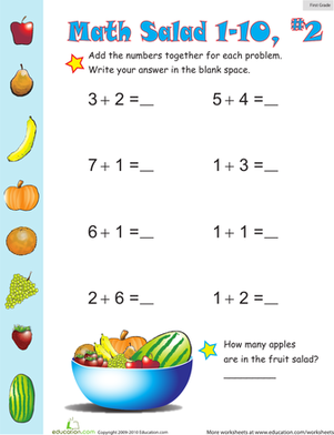 First Grade Math Worksheets: Math Salad 2