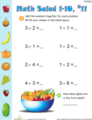 First Grade Math Worksheets: Math Salad 11