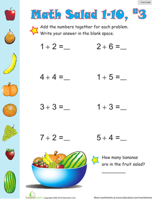 First Grade Math Worksheets: Math Salad 3
