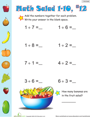 First Grade Math Worksheets: Math Salad 12