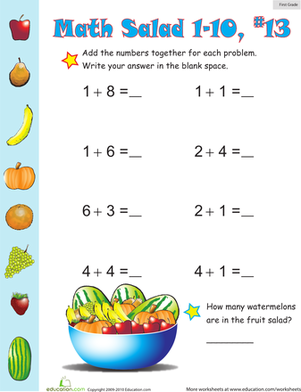 First Grade Math Worksheets: Math Salad 13