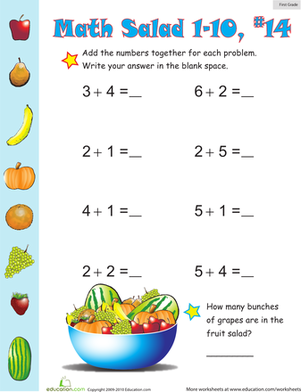 First Grade Math Worksheets: Math Salad 14