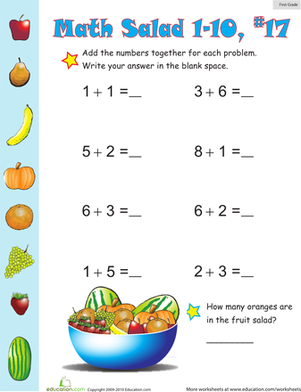 First Grade Math Worksheets: Math Salad 17