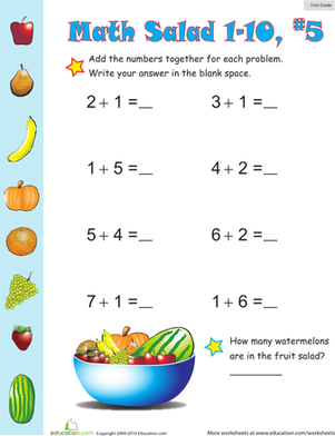 First Grade Math Worksheets: Math Salad 5