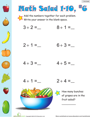 First Grade Math Worksheets: Math Salad 6