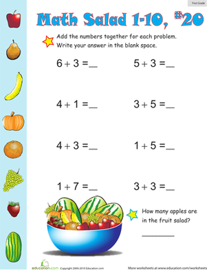 First Grade Math Worksheets: Math Salad 20