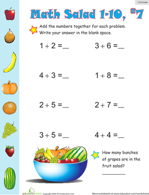 First Grade Math Worksheets: Math Salad 7