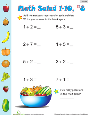 First Grade Math Worksheets: Math Salad 8