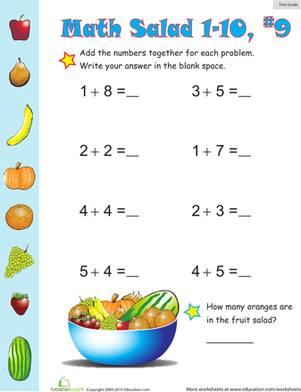 First Grade Math Worksheets: Math Salad 9