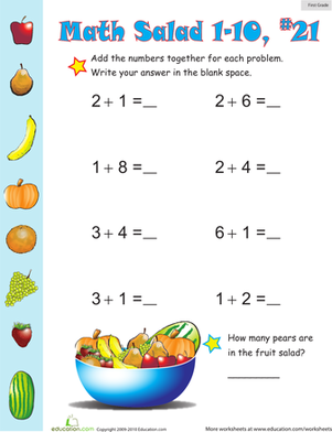 First Grade Math Worksheets: Math Salad 21