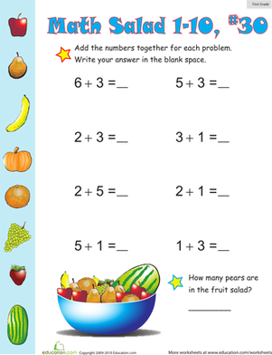 First Grade Math Worksheets: Math Salad 30