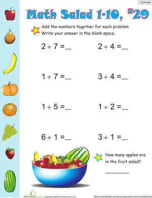 First Grade Math Worksheets: Math Salad 29
