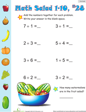 First Grade Math Worksheets: Math Salad 28