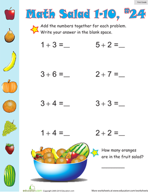 First Grade Math Worksheets: Math Salad 24