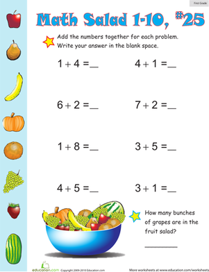 First Grade Math Worksheets: Math Salad 25