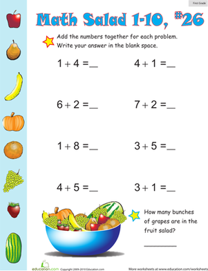First Grade Math Worksheets: Math Salad 26
