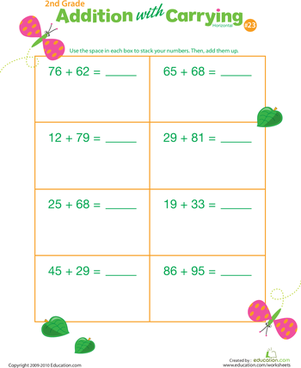 Second Grade Math Worksheets: Addition with Carrying 23