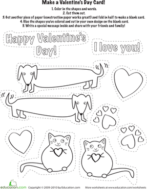 Kindergarten Reading & Writing Worksheets: Make a Valentine