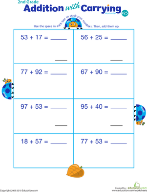 Second Grade Math Worksheets: Addition with Carrying 25