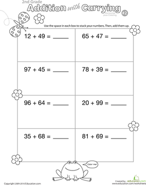 Second Grade Math Worksheets: Color Me! Addition with Carrying 2