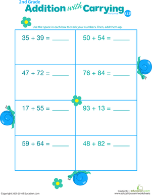 Second Grade Math Worksheets: Addition with Carrying 28