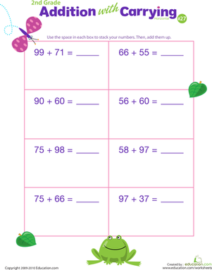 Second Grade Math Worksheets: Addition with Carrying 27