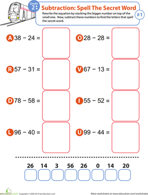 Second Grade Math Worksheets: Math Riddles: Subtraction